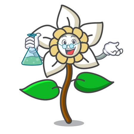 Professor jasmine flower character cartoon vector illustration