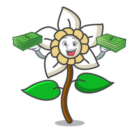 With money bag jasmine flower mascot cartoon vector illustration