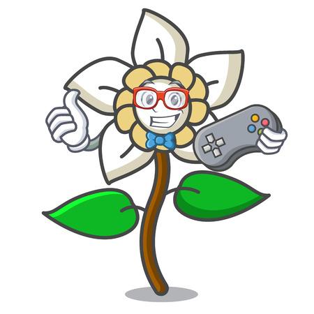 Gamer jasmine flower mascot cartoon vector illustration Vektorové ilustrace
