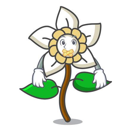 Silent jasmine flower mascot cartoon vector illustration