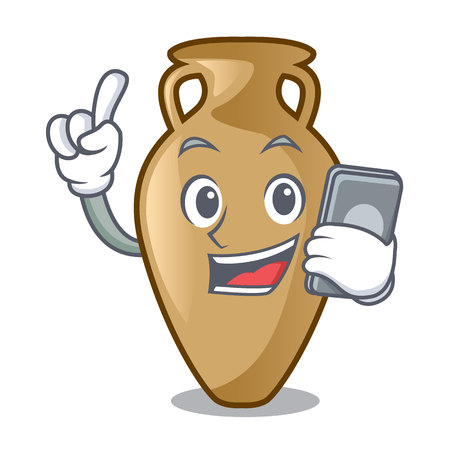 With phone amphora character cartoon style vector illustration