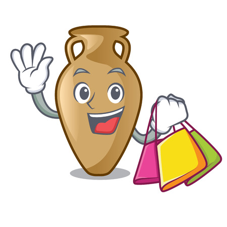 Shopping amphora character cartoon style vector illustration