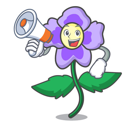 With megaphone pansy flower character cartoon vector illustration