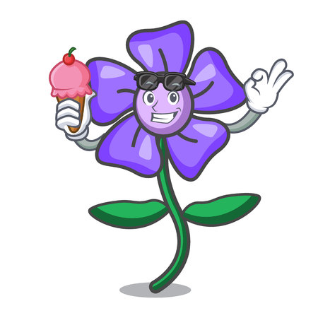 With ice cream periwinkle flower character cartoon vector illustration 向量圖像