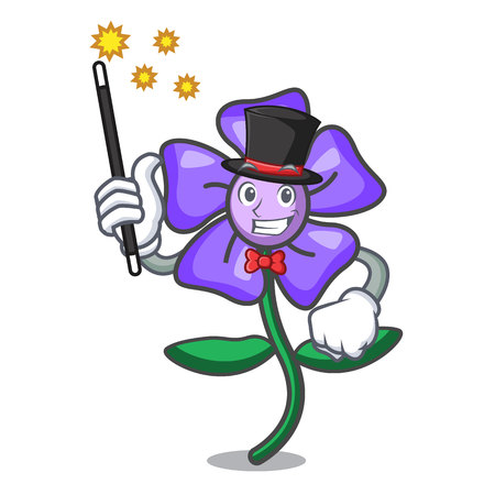 Magician periwinkle flower mascot cartoon vector illustration