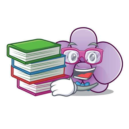 Student with book orchid flower mascot cartoon vector illustration Illustration
