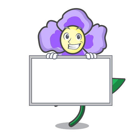 Grinning with board pansy flower character cartoon vector illustration Vettoriali