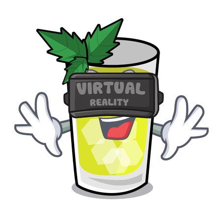 Virtual reality mint julep mascot cartoon