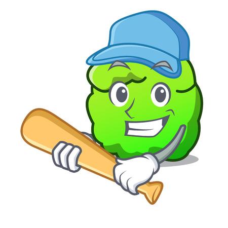 Playing baseball shrub character cartoon style