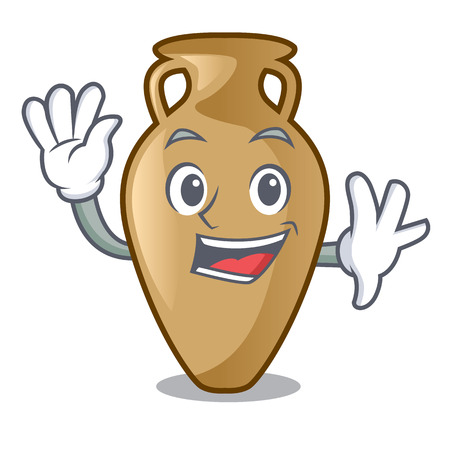 Waving amphora character cartoon style vector illustration
