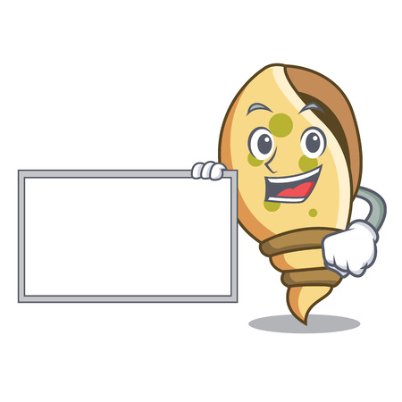 With board sea shell character cartoon vector illustration Иллюстрация