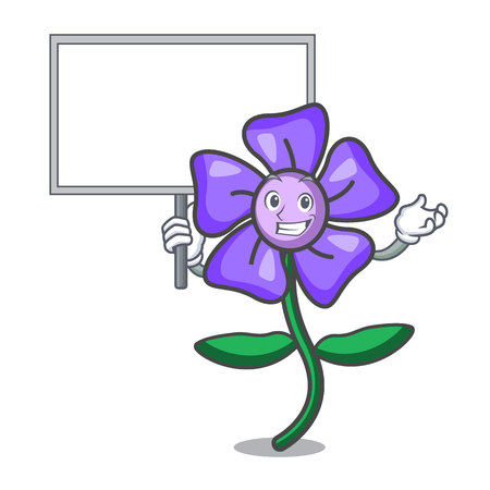 Bring board periwinkle flower character cartoon vector illustration 일러스트