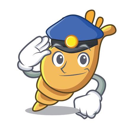 Police exotic shell character cartoon vector illustration