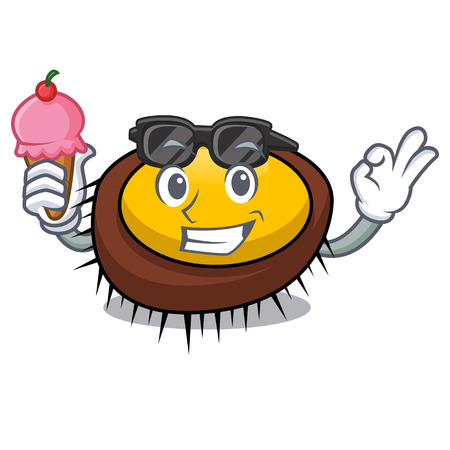 With ice cream sea urchin character cartoon vector illustration