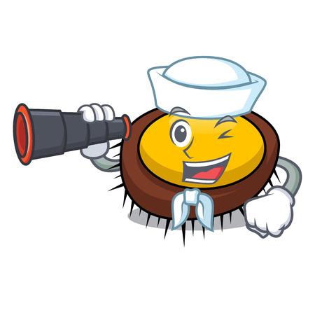 Sailor with binocular sea urchin mascot cartoon