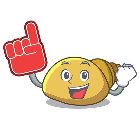Foam finger mollusk shell mascot cartoon Illustration