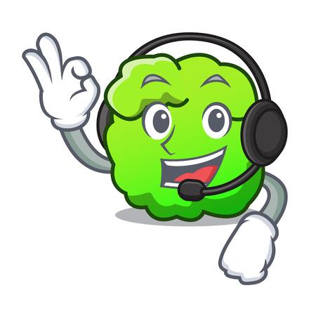 With headphone shrub mascot cartoon style vector illustration