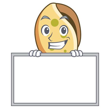 Grinning with board sea shell character cartoon vector illustration Иллюстрация