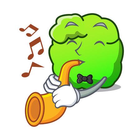 With trumpet shrub mascot cartoon style vector illustration Illustration