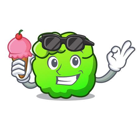 With ice cream shrub character cartoon style vector illustration Stock Photo