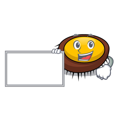 With board sea urchin character cartoon vector illustration
