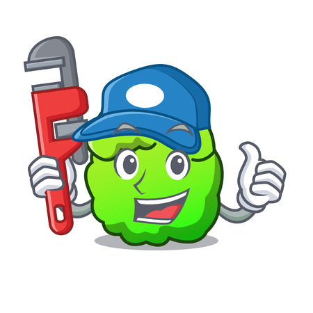Plumber shrub mascot cartoon style vector illustration
