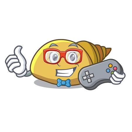 Gamer mollusk shell mascot cartoon vector illustration Illustration