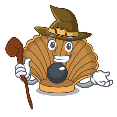 Witch shell with pearl mascot cartoon