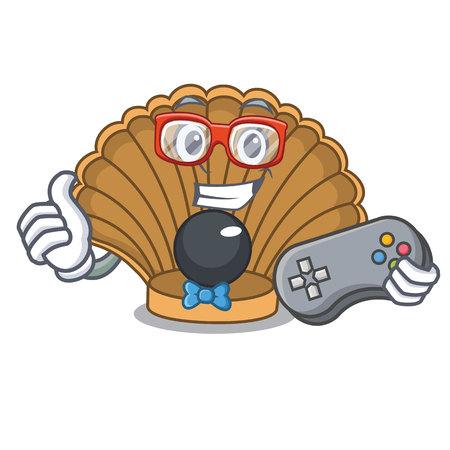 Gamer shell with pearl mascot cartoon vector illustration