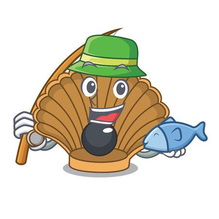 Fishing shell with pearl mascot cartoon vector illustration Иллюстрация