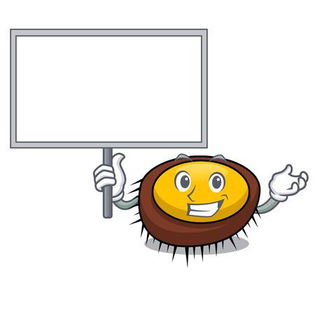 Bring board sea urchin character cartoon vector illustration