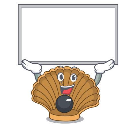Up board shell with pearl character cartoon vector illustration Фото со стока