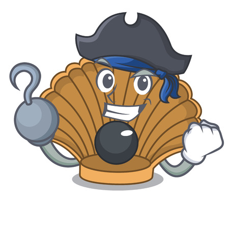 Pirate shell with pearl character cartoon vector illustration