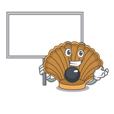 Bring board shell with pearl character cartoon vector illustration Иллюстрация