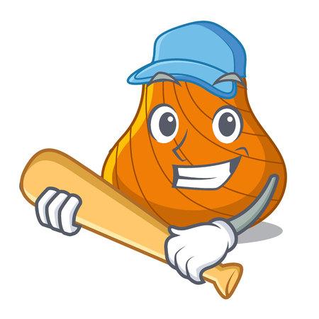Playing baseball hard shell character cartoon vector illustration