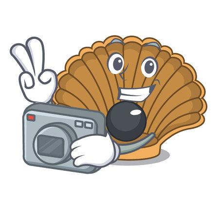 Photographer shell with pearl mascot cartoon vector illustration