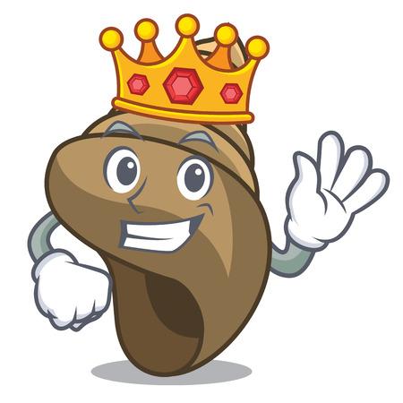 King spiral shell mascot cartoon vector illustration 矢量图片