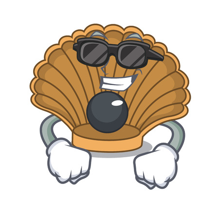 Super cool shell with pearl character cartoon vector illustration