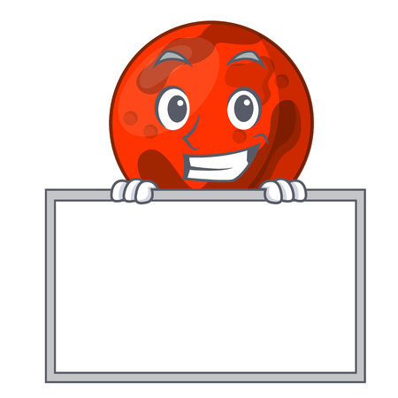 Grinning with board mars planet character cartoon vector illustration