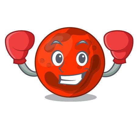 Boxing mars planet character cartoon vector illustration