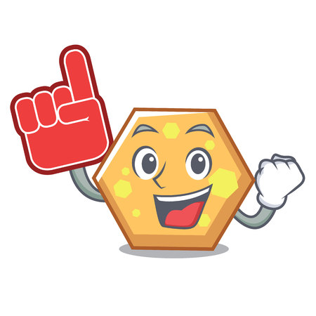 Foam finger hexagon mascot cartoon style vector illustration
