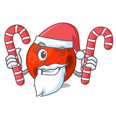 Santa with candy mars planet mascot cartoon vector illustration Illustration