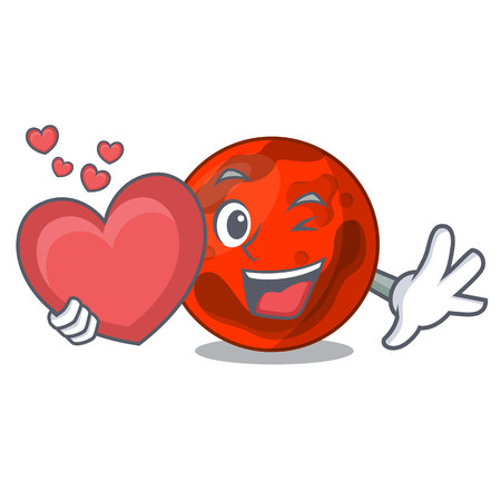 With heart mars planet mascot cartoon vector illustration