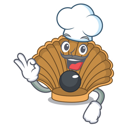 Chef shell with pearl character cartoon vector illustration