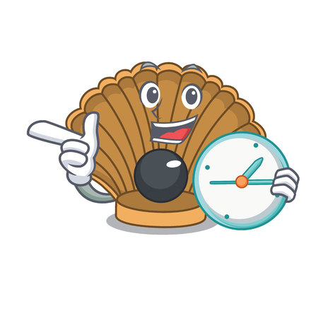 With clock shell with pearl character cartoon vector illustration