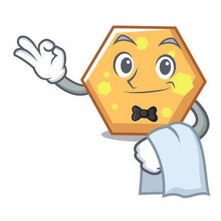 Waiter hexagon mascot cartoon style vector illustration Illustration