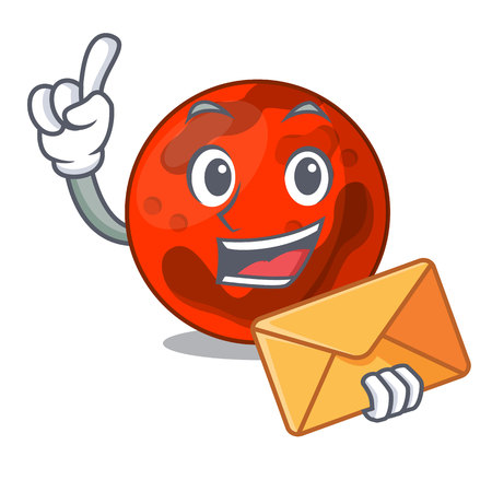With envelope mars planet character cartoon vector illustration