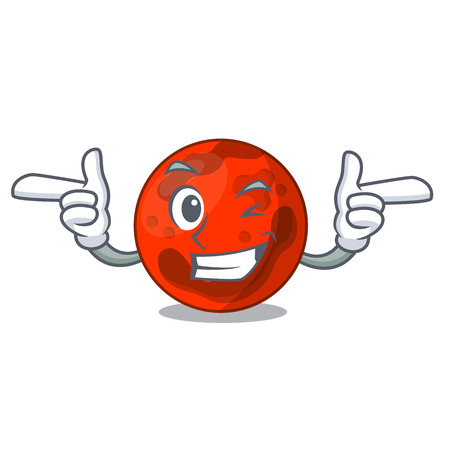 Wink mars planet character cartoon vector illustration Ilustrace