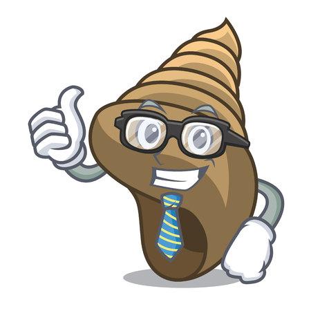 Businessman spiral shell character cartoon vector illustration