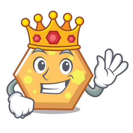 King hexagon mascot cartoon style vector illustration
